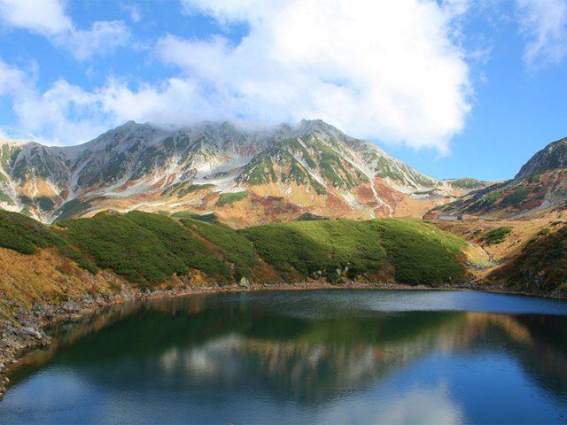ミクリガ池と湖面に映る立山連峰